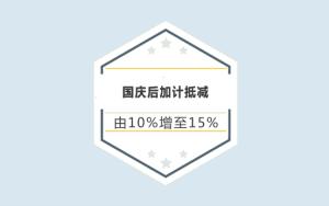 喜讯!国庆后加计抵减由10%增至15%,又省钱了